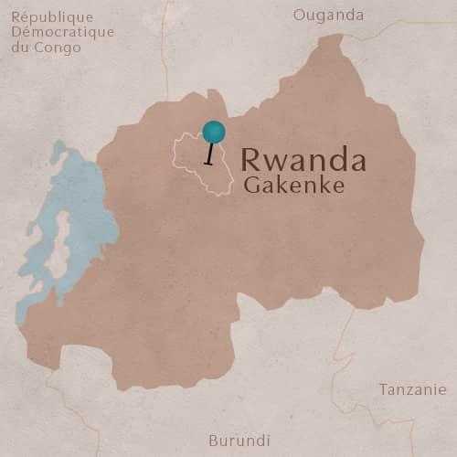 Terroir de Gakenke situé sur une carte du Rwanda