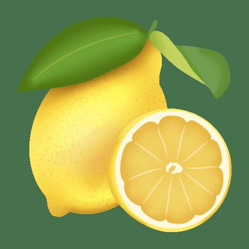 illustration d'un citron entier et d'un demi citron