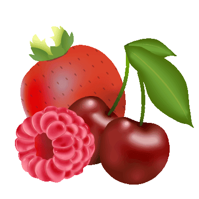 illustration de fruits rouges : fraise, cerise et framboise