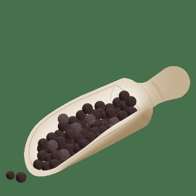 illustration de grains de poivre dans une cuillère en bois